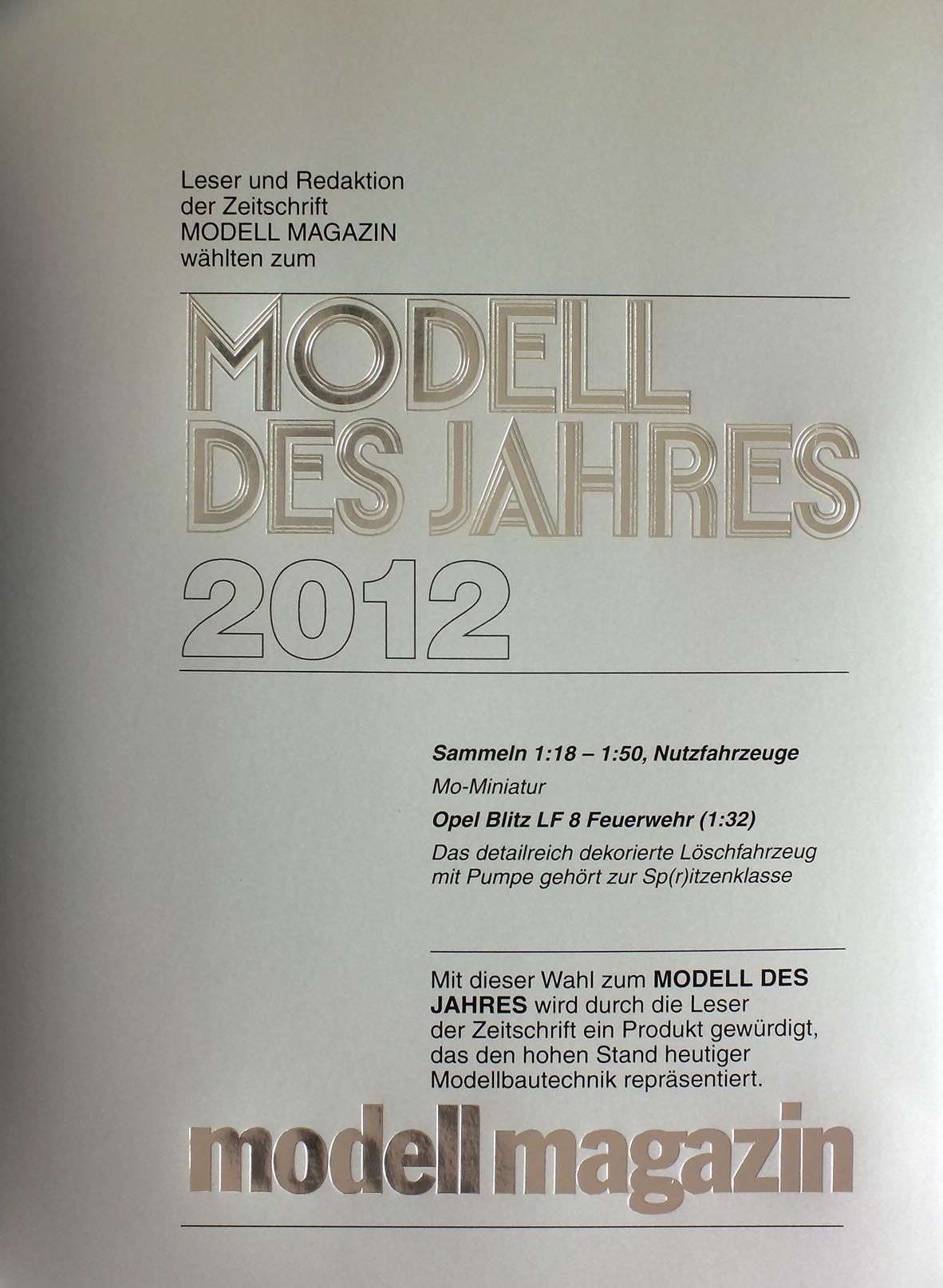 Urkunde Modell des Jahres der MODELL MAGAZINs